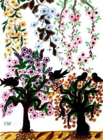 """""""梵高奶奶""""常秀峰的作品 - 天高.我翔 - 艺术世界"""